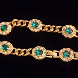 JBK Faux Emerald Diamond Chain Bracelet